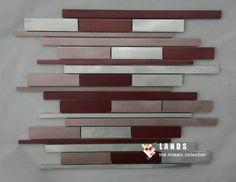 3D Red pink strip metal mosaic tile design,kitchen backsplash wall metal wallpaper,border line DIY sticker wall mosaic,LSALB08