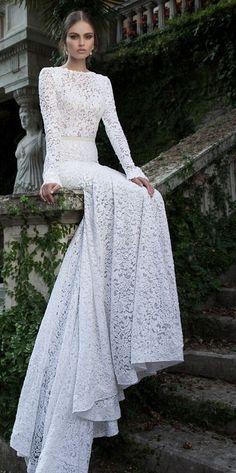 Featured Dress: Berta; Long-sleeve lace wedding dress idea.