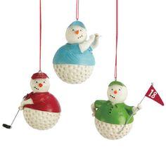 Snowman Golfer Golf Ball Christmas Ornament (Set of 3)