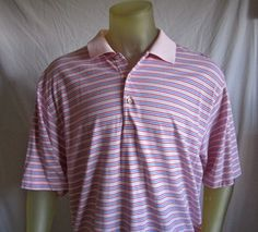 Peter Millar Mens SS Polo Golf Shirt Pink Red White Stripe SIze XL  #PeterMillar #PoloRugby