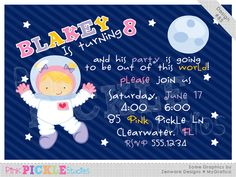 Astronaut Girl Personalized Party Invitation-personalized invitation, photo card, photo invitation, digital, party invitation, birthday, shower, announcement, printable, print, diy, space, outerspace