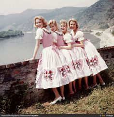 dirndl from 1957 50s 60s pink style fashion ethnic german floral color photo model ladies women