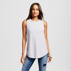 Women's Striped Structured Top White - Merona ™ : Target