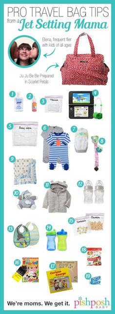 Flying with kids - pro travel bag hacks from a jet setting mama! What to pack for the best possible plane trip with kids of all ages.