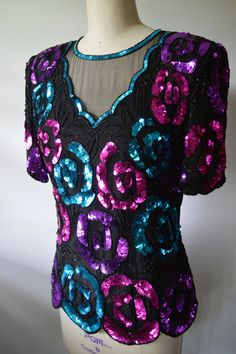 5f6676110003 Vintage Blouse 1970s Sequin Top Beaded and Sequin Disco Top Black Silk Pink  Purple and Blue Sequins by Leslie Fay Size Small
