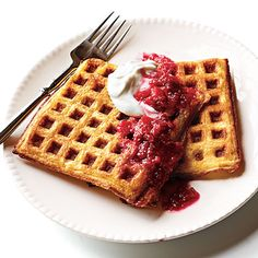 Lemon Cornmeal Waffles with Raspberry-Rhubarb Compote by Cooking Light