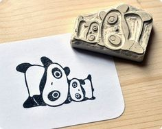 panda, stamp, carve, eraser, rubber, bear, stationery, paper