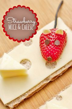 OH YUM! This delicious Healthy kids after school snack is SO easy! Strawberry Mice and Cheese plus children's books to go with it! Cute Food, Good Food, Cheese Recipes, Snack Recipes, Mouse Recipes, Strawberry Mouse, Geronimo Stilton, Mini Chocolate Chips, Healthy Snacks For Kids