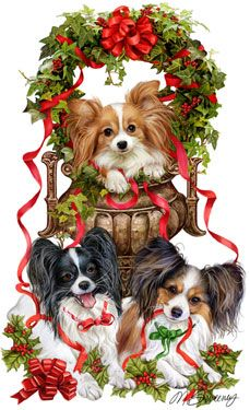 """New for 2011! Papillon Christmas Cards are 8 1/2"""" x 5 1/2"""" and come in packages of 12 cards. One design per package. All designs include envelopes, your personal message, and choice of greeting. Select the inside greeting of your choice from the menu below.Add your personal message to the Comments box during checkout."""