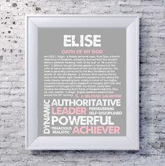 ELISE Personalized Name Print / Typography Print / by OhBabyNames