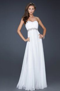 White Long Chiffon Prom Dress 2013 with Sequin Waistband [Chiffon Prom Dress 2013] - $165.00 : Prom Dresses On Sale, 60% off Dresses for Prom Night 2013
