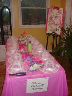 Fancy Nancy Party. I like how they make their own hat to decorate and take home as party favor.