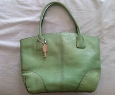 Vintage Bright Spring Green Leather Fossil Hand Bag with Key ZB9018 #Fossil #Satchel