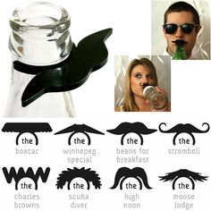 Add a stache to your water-bottle, soda or beer and BOOM, you're stylin. . . I'd love to get these for a moustache theme-party!