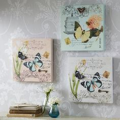 3D Carte Postale Butterfly Plaques - Set of 3