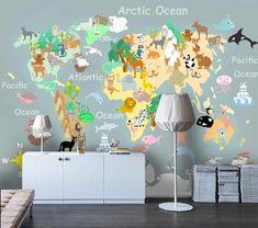 (1) 3D Cartoon Animal World Map Wall Mural Wallpaper 82 – Jessartdecoration Kids World Map, World Map Wall, Map Wallpaper, 3d Cartoon, Wall Murals, Projects To Try, Animals, Home Decor, Wallpaper Murals