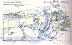 "«Layout» original de 'La Princesa Mononoke' (Hayao Miyazaki, 1997) """