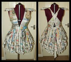 newspaper fashion. Recycled dress. newspaper Dress. Recycled Fashion.