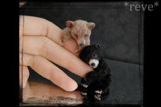 Miniature Bear cubs * Handmade Sculpture * by ReveMiniatures on deviantART (adorable!)