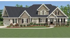 From the inviting front porch to the family room with it's cozy fireplace, this plan offers the perfect family gathering place. The master suite has dual vanities, a garden tub, a shower and an over-sized closet. The two main-level bedrooms share a bath with double vanities. Upstairs, there is a large office, full bath and spacious bonus room.