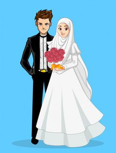 Cute muslim bride and groom cartoon for wedding card Vector