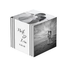 #photo - #Gray & White Striped Custom Photo Cube