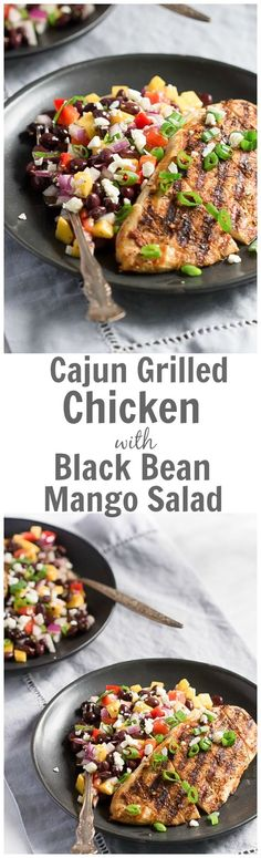 This easy Cajun Grilled Chicken with Black Bean Mango Salad recipe is ...