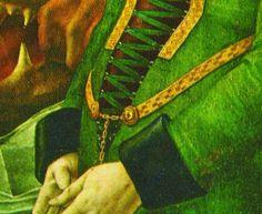 Van Der Goes - Portinari Altarpiece - 1475-76, detail of demicient belt.