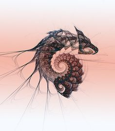 dragon fractal art.  bromley2 on etsy