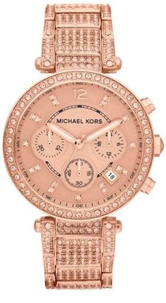 WANT!    Michael Kors Mid-Size Rose Golden Stainless Steel Parker Chronograph Glitz Watch
