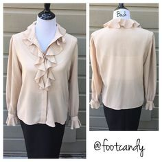 "| vintage | 1980's Josephine Blouse Vintage Josephine Blouse. Beige with soft ruffle detail.  Bust: 40""; Sleeve: 25""; Underarm to hem: 16""; Length 25"" CLOSET RULES: No PayPal. No Holds. No Trades. Please make reasonable offers through offer button.   BUYER PROTECTION: After purchase, all items are subject to additional photos and videotapes with date stamping and buyer closet name. Tops Blouses"