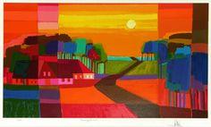 Ton Schulten, Zomergloed (2006) Dit 2D kunstwerk is een schilderij. Je ziet er door het erg diverse en vooral warme kleurgebruik lichtdonker (huizen), complementair (grasveld links) en warmkoud (bomen rechts) contrast. Ook al is het landschap blokkerig geschilderd je kan toch zien wat het is. Dit spreekt mij erg aan want dat vind ik knap. Er wordt diepte gecreëerd door de lange hoekige weg die steeds kleiner wordt en door de huizen die in verschillende kleuren en zijde blokken zijn…