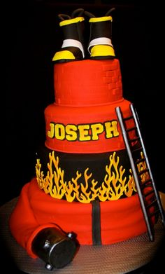 """""""Firefighter cake I made for a Houston Firefighter who was about to retire."""" Kid to the end :)"""