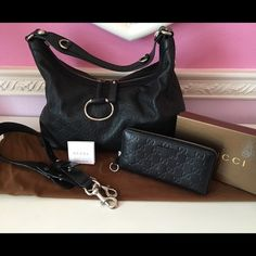 Gucci handbag and matching wallet Guccissima Beautiful set, purse and wallet Guccissima black leather, excellent condition no rips, stain clean interior, dust bag and wallet box include, detachable strap, original purchased from Gucci store. Gucci Bags Hobos