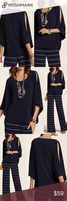 """Chicos Navy Blue Poncho Top Knit Kit Dramatic Sexy MSRP $79 Sold out  Size L/XL Color Ink (Navy Blue)  Poncho-inspired knit top; flowy + fabulous w/split peek-a-boo sleeves + silver bar hardware to flatter the shoulders The Knit Kit: Ready-for-anywhere knits w/stylish silhouettes + soft fabrics  NWT; no flaws 96% poly/4% spandex Machine was  Measures flat approx Length 27.5"""" to 30"""" Chest 26""""  Offers warmly accepted - If we can't reach your offer, we'll send you the lowest we can go!  We ship…"""
