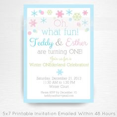 Twin Winter ONEderland Party Printable Invitation by Print POP Party    This is an emailed file, nothing will be shipped to you. Please include