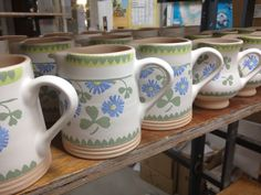 Our New Clover Pattern launched in January 2013 - here are small cylinder jugs just decorated waiting for their second firing. Irish Pottery, Pottery Patterns, Kitchenware, Tableware, Pottery Bowls, Different Patterns, Glaze, Waiting, January