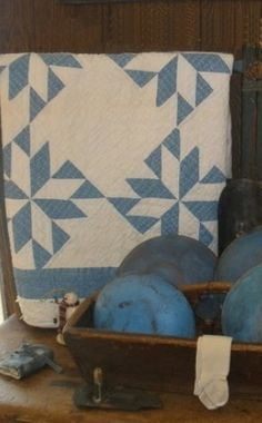 Blue and white quilt and Blue wooden bowls ~ ohhhhh