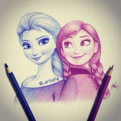 This Elsa and Anna sketch is amazing. Love how the colors blend!