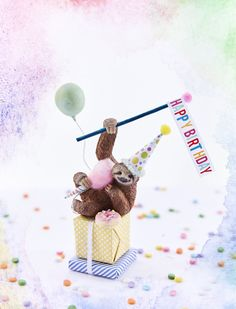 Sloth cake topper/sloth collectible/ Party Animal Cake Topper/Sloths Sloth cake topper/sloth c Birthday Wishes, 2nd Birthday, Sloth Cakes, Dog Cakes, Animal Cakes, Plastic Animals, Plastic Animal Crafts, Animal Party, Diy Party Animals