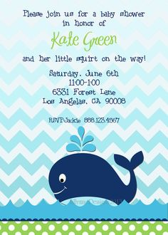 blue whale baby shower invitation | blue whale, Baby shower invitations