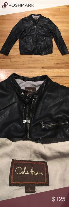 Cole Haan men's black leather biker jacket - Large Cole Haan men's black leather biker jacket - Large. Armpit to armpit - 22.5 inches. Length - 28 inches. Excellent condition. Cole Haan Jackets & Coats
