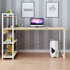 Computer Desk With Shelves, Computer Desks For Home, Bookshelf Desk, Computer Workstation, Office Workstations, Laptop Desk, Bookshelves, Office Desks, Home Office