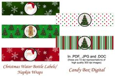 "Check out Christmas Water Labels/Napkin Wraps by candyboxdigital on Creative Market. Labels are 2"" high and fit both 8 oz and 12 oz bottles. And you can print as many as you want! Print on standard printer paper or card stock, cut, wrap around bottles and glue or stick with double-sided tape. Or print on 8.5"" x 11"" adhesive paper, cut, peel and stick. Santa, gingerbread men, and Christmas trees."