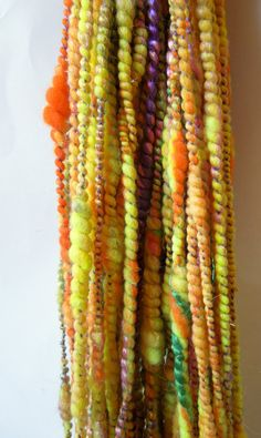Pumpkin Days Handspun Art Yarn Corespun Coily by RainbowTwistShop, $46.75