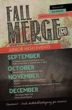 Merge: JH Fall Calendar by Lauren Hill [for Fish House Creative], via Behance