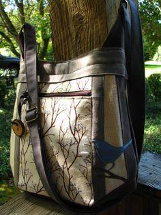 Bird Applique, Nature Inspired, Blue Bird, Eco Friendly, Pockets, Vegan, Shoulder  Bag, Zipper, Zippers f7bd8ab5d8