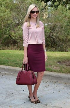 Love this outfit, especially the style of the shirt, and the colors.  I don't think I could pull off a pencil skirt currently, but maybe someday.