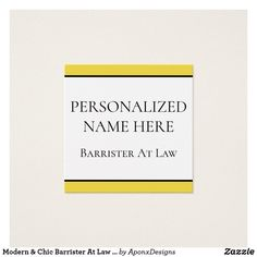 Modern & Chic Barrister At Law Business Card Modern Business Cards, Card Designs, Lawyer, Chic, Prints, Shabby Chic, Elegant, Card Templates