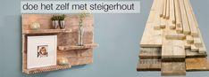 Met steigerhout kan je leuke combinaties maken, zo ook dit wandpaneel. Steigerhout is in diverse afmetingen te koop bij Praxis.